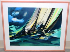 Marcel Mouly Sailboat Lithograph