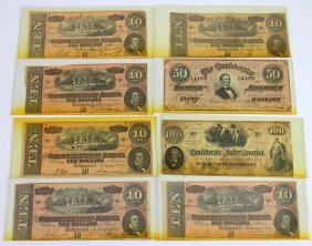 (8) Confederate Currency Notes