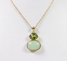 14kt Jade & Peridot Pendant Necklace