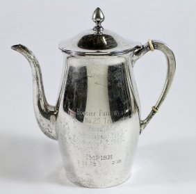 Sterling Silver Horse Racing Trophy Coffee Pot
