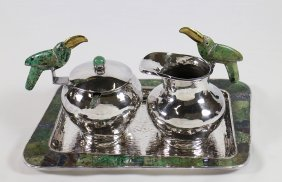 3pc Los Castillo Mexican Silverplate Tray Set