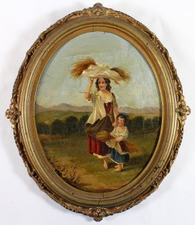 19th Century Oil Painting Peasant Woman & Child