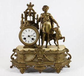 Figural Gold Gilt Metal Clock