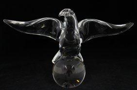 Steuben Crystal Eagle On Ball