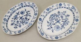 (2) Meissen Blue Onion Platters
