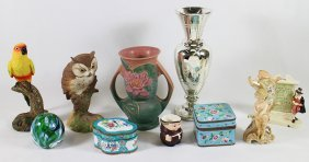 Roseville, Cloisonne, Paperweight, & More
