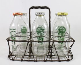 (6) Antique Milk Bottles & Carrier