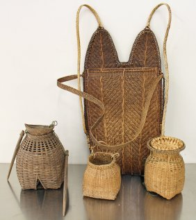 Fish Trap, Baskets, & Backpack