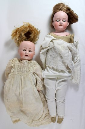 (2) Antique German Bisque Dolls
