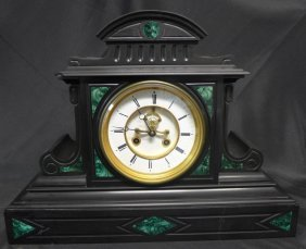 Open Escapement Black Marble Inlay Mantle Clock