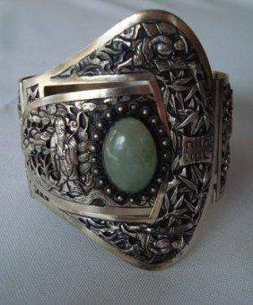 French Indo-China Silver Cuff, Jade Cabachon