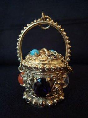 14k Gold & Jewelled Charm 19.8 Grams