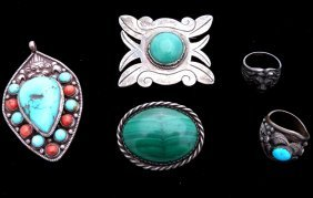 5pc Lot Of Jewelry Including Mexican Silver Pin