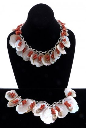 Coral And Shell Necklace And Bracelet
