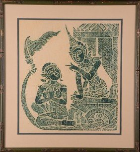 Handmade Thai Temple Rubbings Set Of 2.  Framed Und