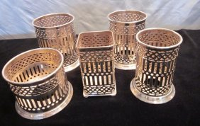 Lot Of 5 Silverplate Condiment Holders