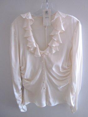 Armani Collezioni White Silk Ruffled Blouse