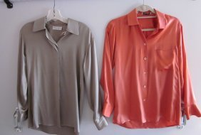 Lot Of 2 Silk Blouses (Coral And Tan)