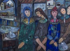 Jose MIJARES (1921-2004) , Five Women Waiting