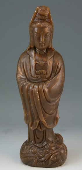 Chinese Carved Soapstone Kwan Yin Statue