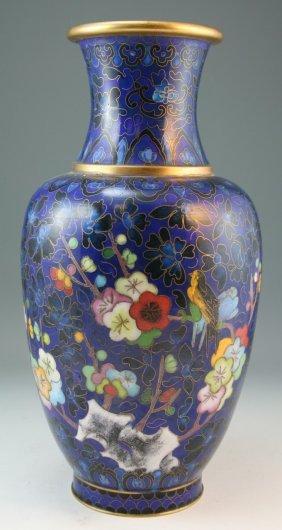 Chinese Antique Enamel On Copper Vase
