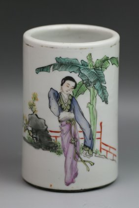 Chinese Antique Famille Rose Porcelain Brush Pot