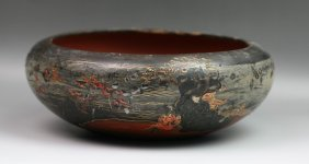 Big Antique Japanese Gilt Embossed Lacquer Bowl