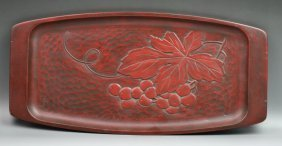 Japanese Kamakura Carved And Lacquered Plate