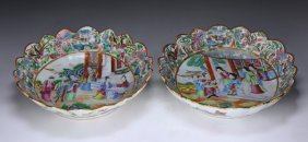 Pair Chinese Antique Rose Medallion Porcelain Plates
