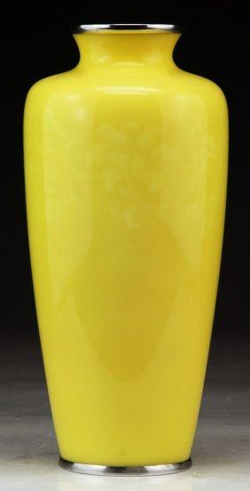A Fine Japanese Antique Yellow Cloisonne Enamel Vase
