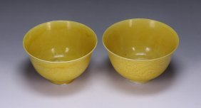 Pair Chinese Yellow Glazed Porcelain Cups