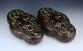 Pair Chinese Antique Lacquer Style Wood Lidded Cases