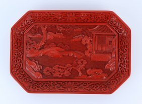 A Chinese Cinnabar Lacquer Square Plate