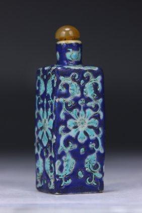 A Chinese Antique Blue Glazed Porcelain Snuff Bottle