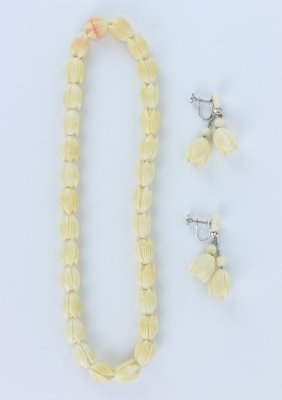 Antique Ivory Carved Beaded Necklace & Earring Set