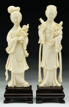 Pair Chinese Antique Carved Ivory Beauties