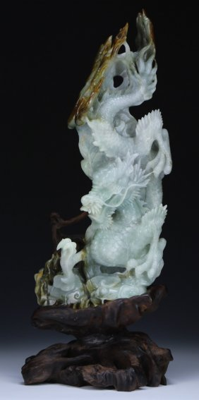 A Jadeite Carved Dragon Group