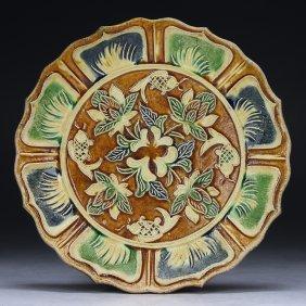 A Chinese Liao-style Sancai Polychrome Plate