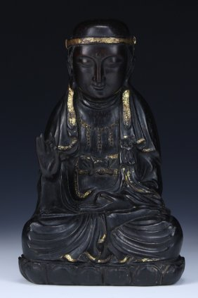 A Chinese Antique Zitan Wood Carved Statue