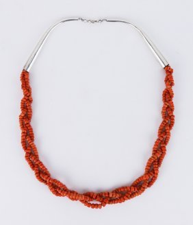 An Antique Mongolian Silver & Coral Necklace
