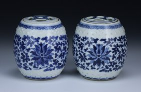 Pair Chinese Antique Blue & White Lidded Jars