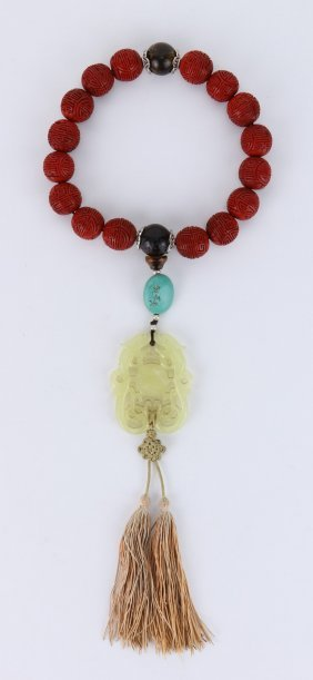A Chinese Antique Jade, Turquoise & Cinnabar Lacquer