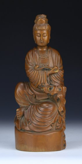 A Chinese Antique Wood Carved Guanyin