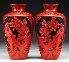 Pair Chinese Antique Red Cinnabar Lacquer On Bronze