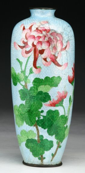 A Japanese Antique Ginbari Cloisonne On Silver Vase