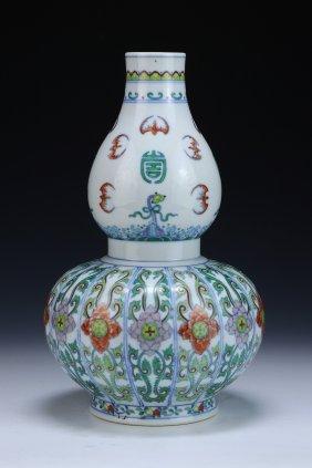 A Chinese Antique Doucai Gourd Shaped Porcelain Vase