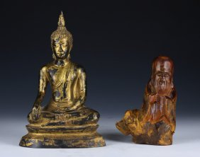 Two (2) Chinese Wood Shoulao & Bronze Buddha Carvings