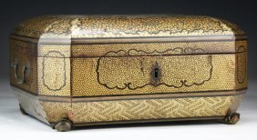 A Chinese Antique Gilt Lacquer On Wood Sewing Box
