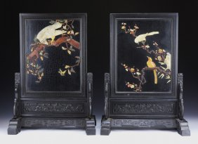 Pair Chinese Antique Wood Screens With Zitan Frames