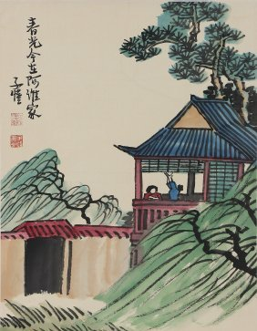 A Chinese Paper Hanging Painting Scroll By Feng, Zikai